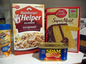 Hamburger Helper, instant cake mix, Spam: 79 ingredients