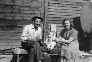 My parents prop my brother on a saddle. He's now an animator in Los Angeles. (Northeastern Montana, 1950s)