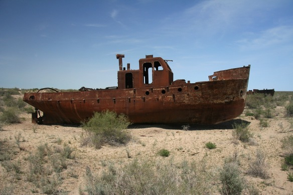 Abandoned ship in Karakalpakstan, Uzbekistan. The seaport town of Muynak is now 93 miles from water. Photo courtesy: Fotopedia